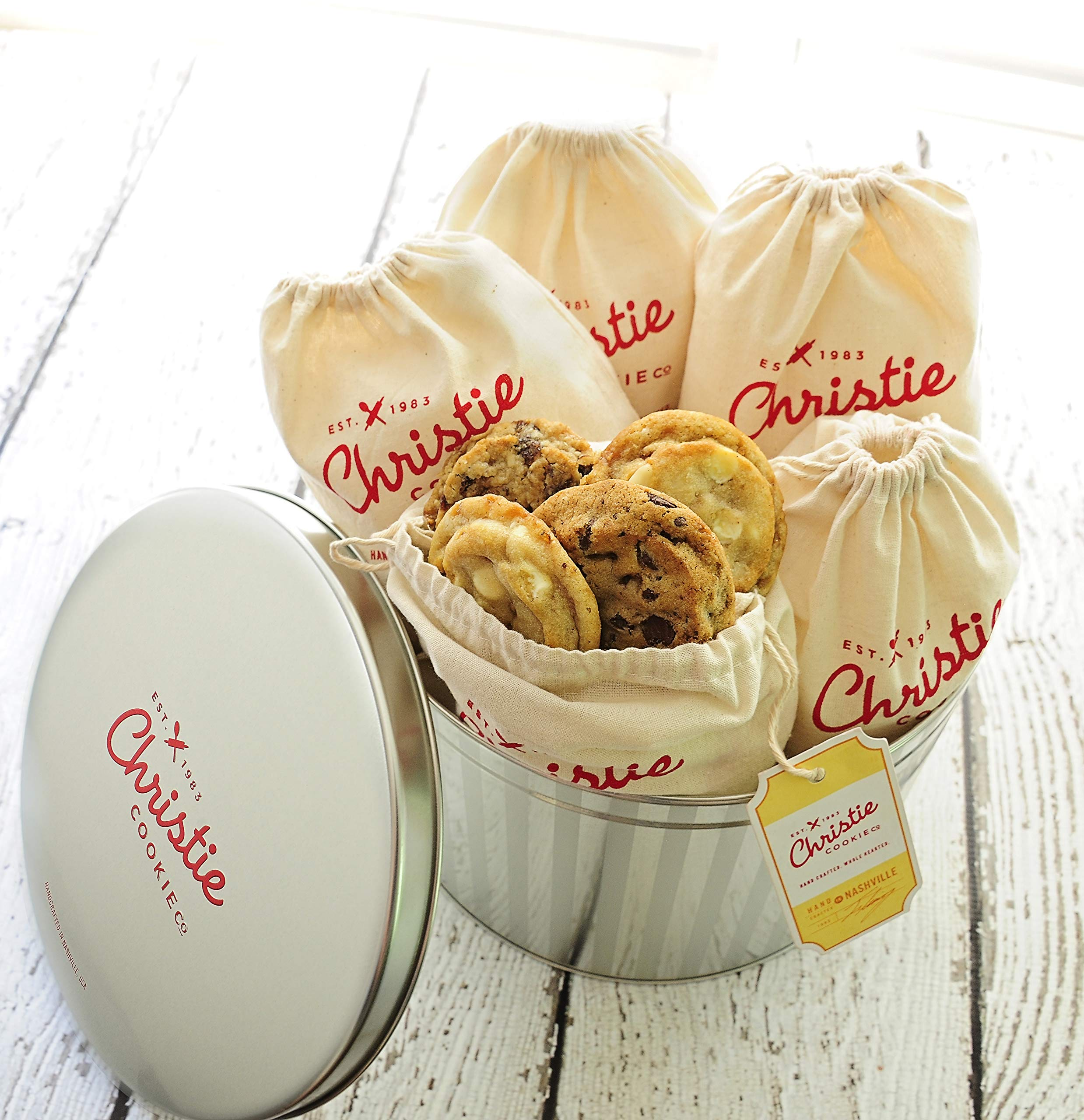 Christie Cookies, Gourmet Assorted Cookies, 60 Fresh-Baked Cookies in Silver Tin, No Added Preservatives, 100% Real Butter, Holiday & Corporate Gift Tin, Birthday Gift Idea for Men & Women