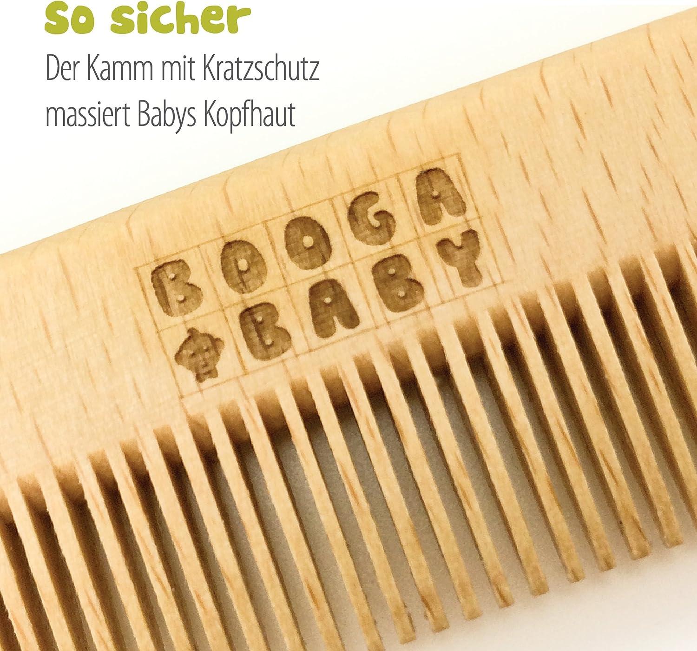 Hecho en Alemania Set de Cuidados del Beb/é Booga Baby compuesto de un cepillo y un peine Con cepillo de pelo natural de cabra Ideal tambi/én como regalo postparto