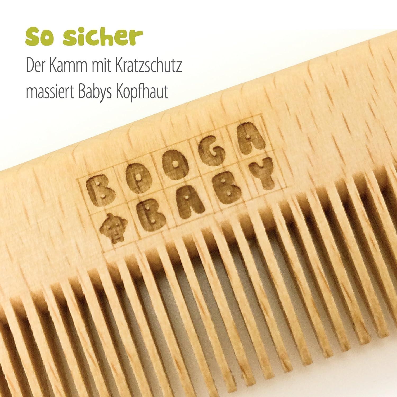 Set de Cuidados del Bebé Booga Baby compuesto de un cepillo y un peine   Con cepillo de pelo natural de cabra   Hecho en Alemania   Ideal también como ...