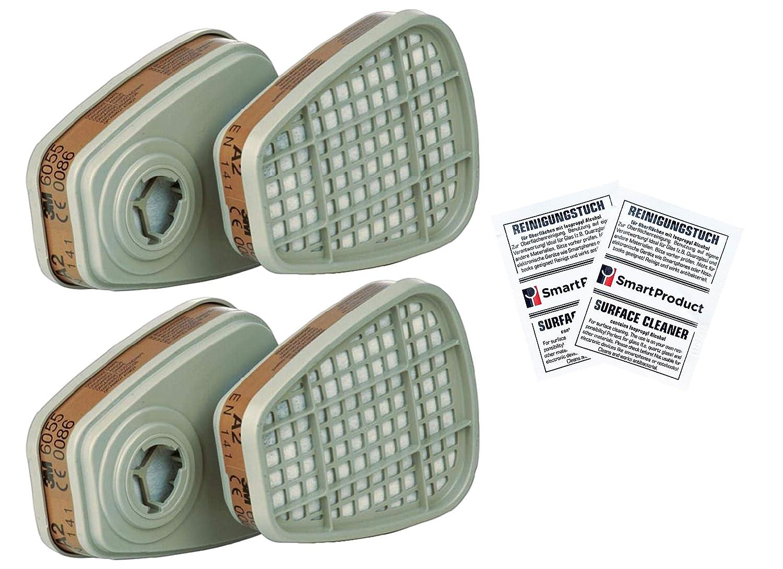 Filtre Cartouche 3M 6055 A2 Vapeurs Organiques pour Masque 3M (4 Pié ces / 2 Paire) + SmartProduct Tampons Alcool 2 piè ce - Bundle intervisio