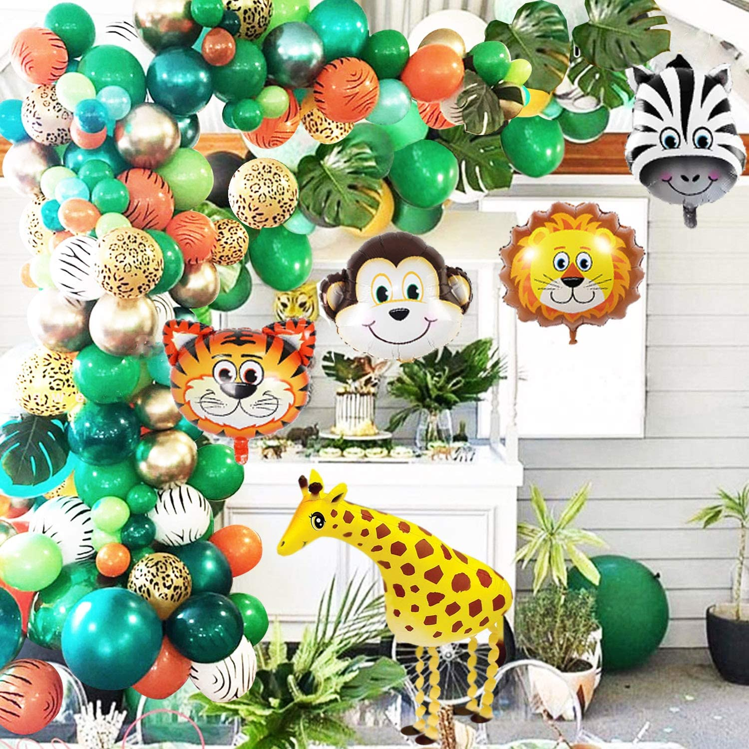 Jungle Safari Theme Party Balloon Garland Kit – 151 Pack With Animal Balloons and Palm Leaves for Kids Boys Birthday Party Baby Shower Decorations