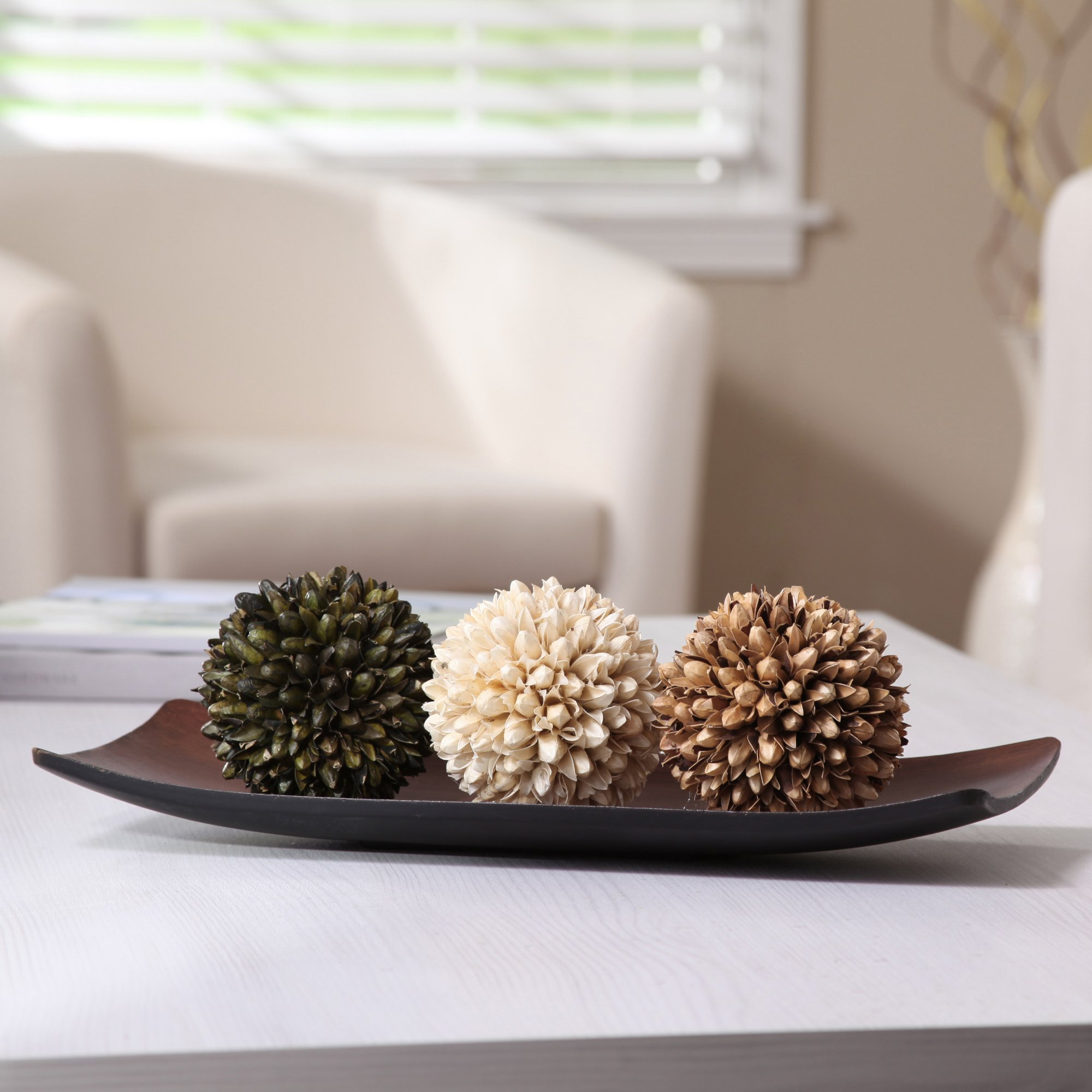 Hosley Decorative Bowl/Tray and Floral Orb/Ball Set. for Orbs, Dried Potpourri etc. Ideal Gift for Study, Den, Dorm, Home, Wedding, Spa, Reiki, Meditation O3