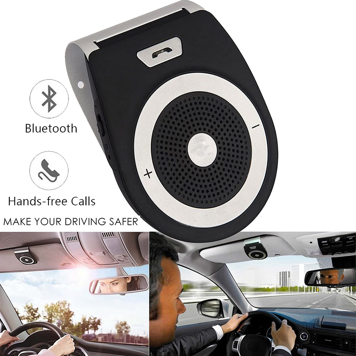 TEASTAR Bluetooth in-Car Speakerphone Handsfree Mic Multipoint Bluetooth Wireless Sun Visor Car Kit Car Charger Clip iPhone iPad Samsung HTC LG 4327116646