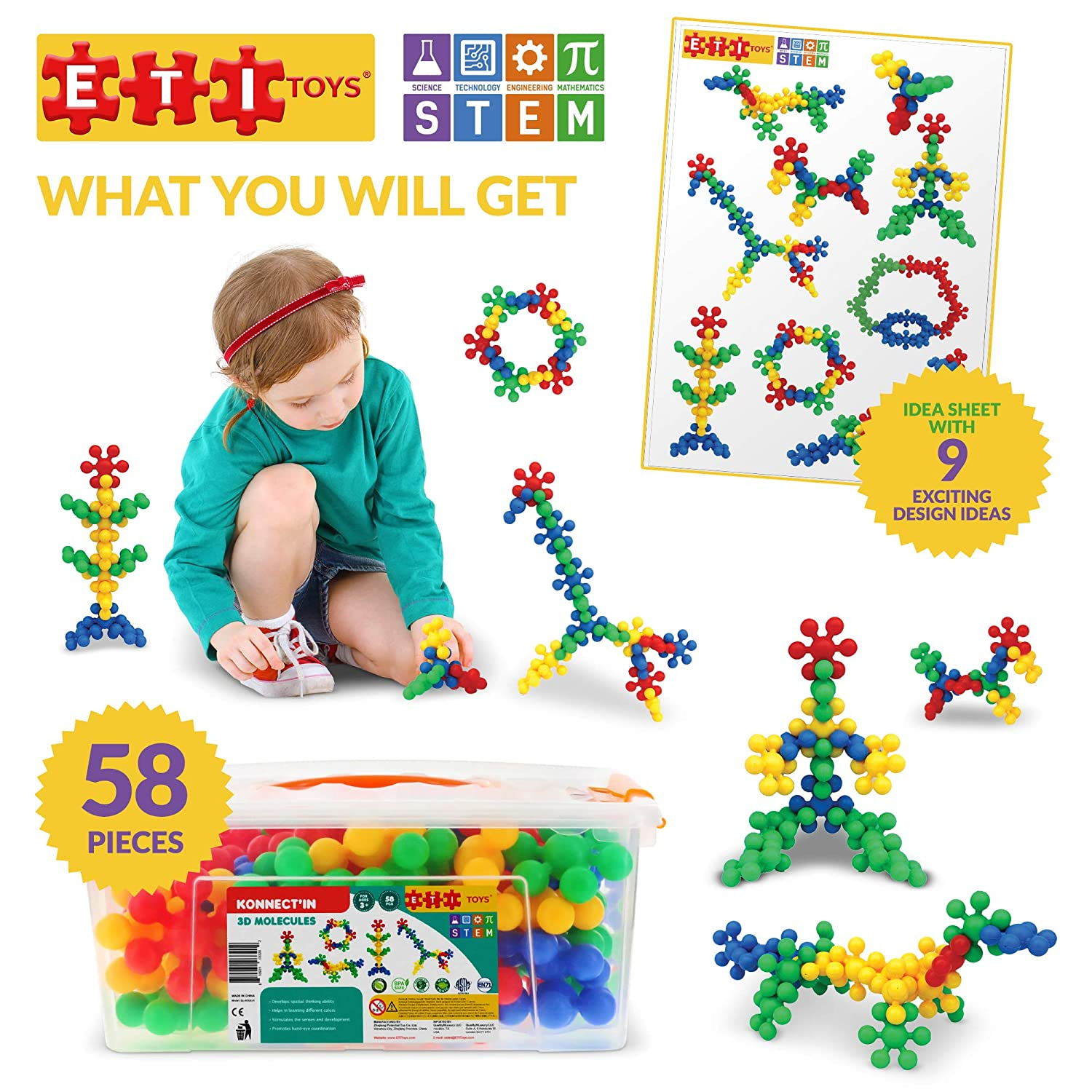 Toy for 3 Creative Skills Development 100/% Non-Toxic Best Gift Llama STEM Learning ETI Toys Endless Designs 80 Piece Konnectin Spokes; Build Airplane Tower 4 5 Year Old Boys and Girls.