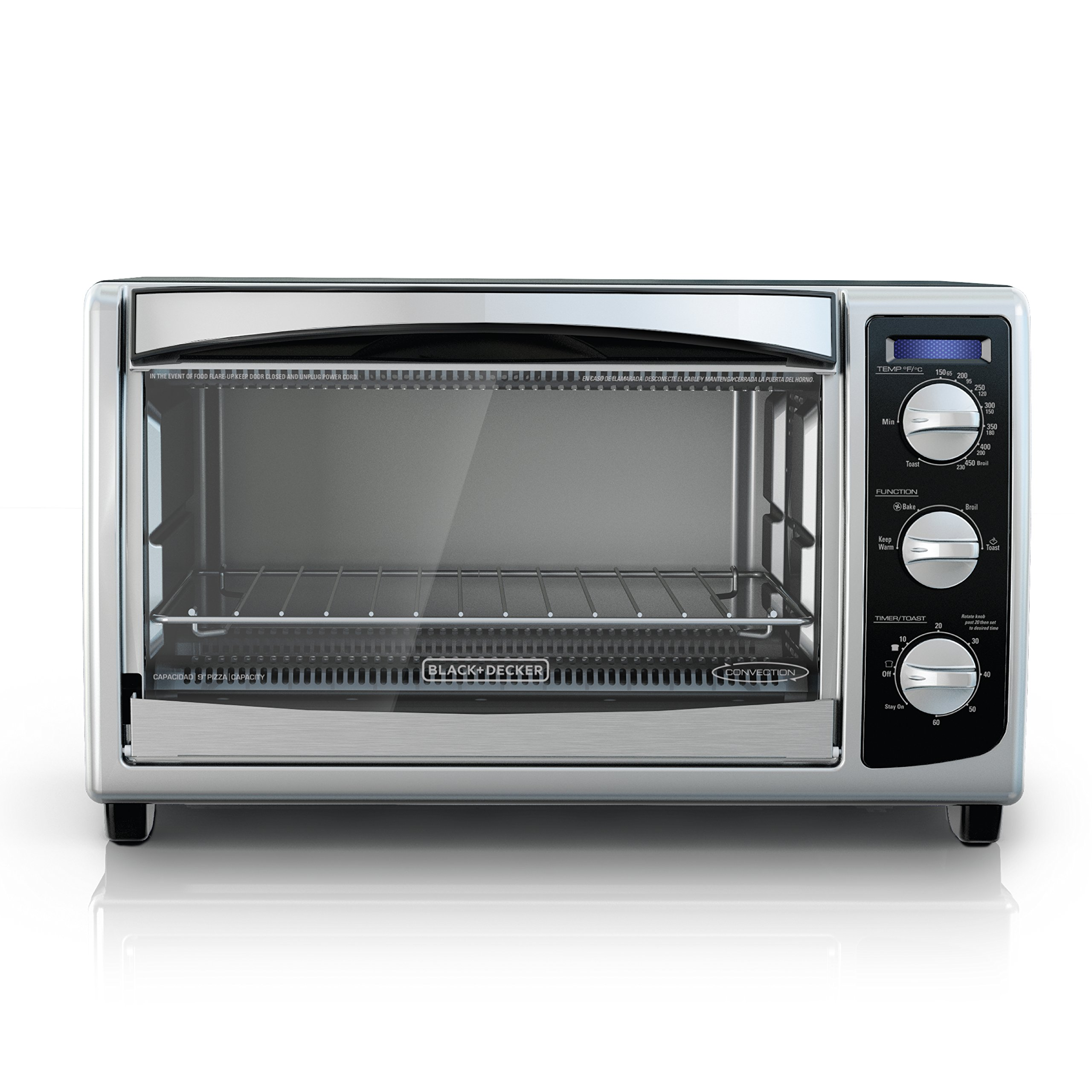BLACK+DECKER TO1675B 6-Slice Convection Countertop Toaster Oven, Includes Bake Pan, Broil Rack & Toasting Rack, Stainless Steel/Black Convection Toaster Oven
