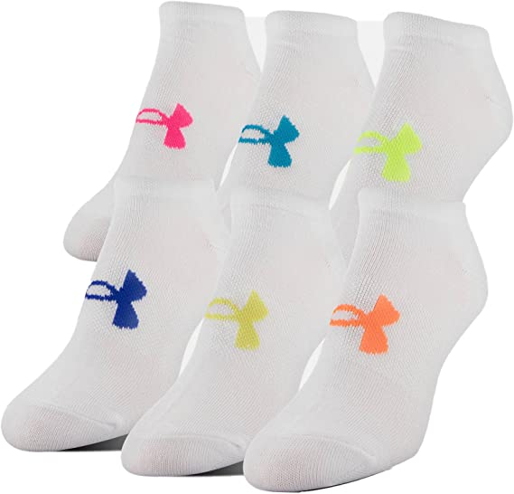 Womens NWT UNDER ARMOUR No-Show Socks 2 pairs Blue Cotton SOFT!
