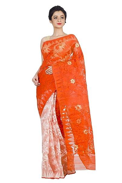 c74e117e7731f Dhakai Jamdani Saree (Off-White   Orange)  Amazon.in  Clothing   Accessories