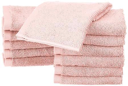 AmazonBasics - Toallas de algodón, 12 unidades, Rosa pétalo: Amazon.es: Hogar