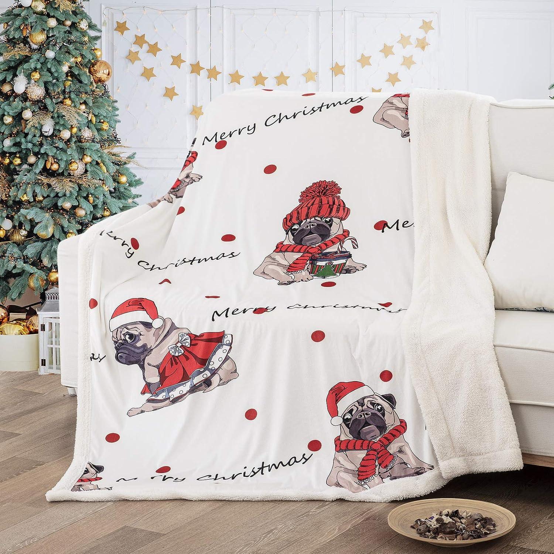 Festive Christmas Throw Blankets Warm Coral fleece Fabric Xmas Theme Bedding
