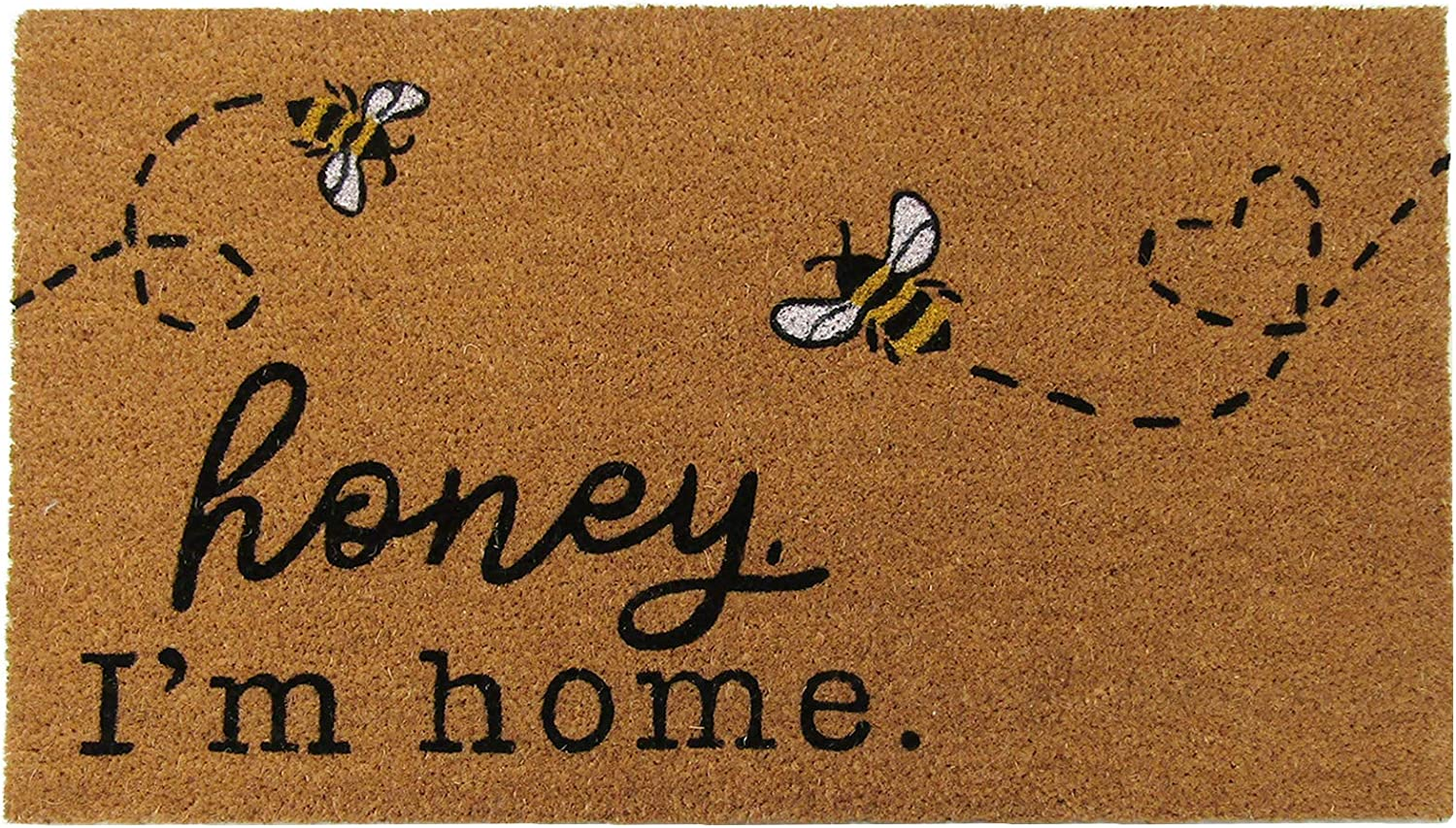 Elrene Home Fashions Farmhouse Living Honey I'm Home Bee Coir Doormat, 18