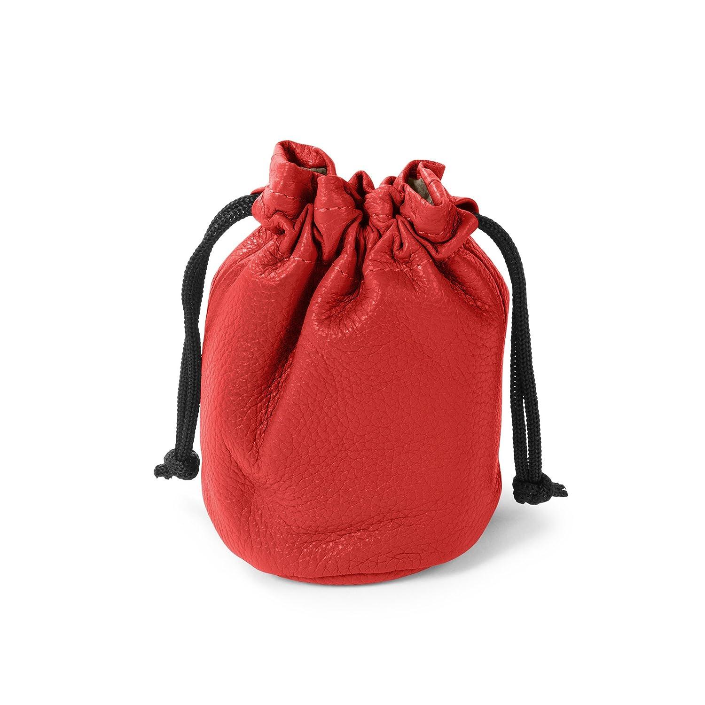 Small Scarlet Full Grain Leather Drawstring Bag