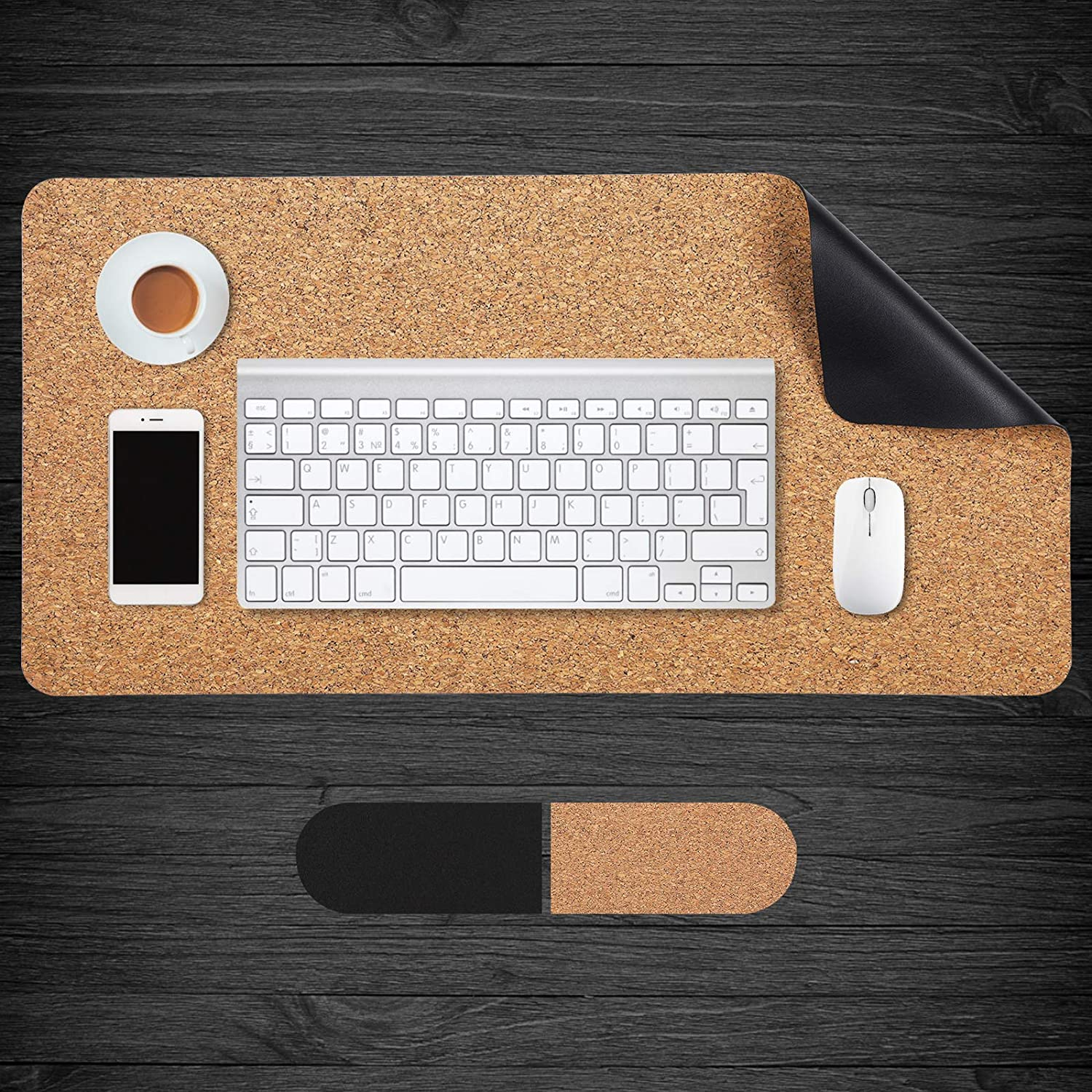 Aelfox Cork & Leather Desk Pad, Natural Office Desk Mat Double-Sided Use, Smooth Extended Large Mouse Pad Desk Accessories (31.5 x 15.7 inches, Black/Cork)