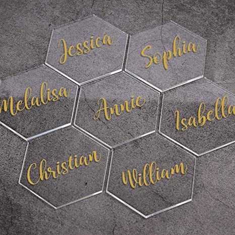 Hexagon Design Place Card Table Name Cards