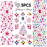5 Sheets of Self Adhesive Bling Rhinestone Stickers Flatback Crystal Gem Sticker Craft Jewels, Assorted Size & Color