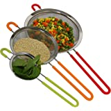 K BASIX Fine Mesh Stainless Steel Strainer with Silicone Handle Set of 3 - Large, Medium & Small Size - Ideal to Strain…