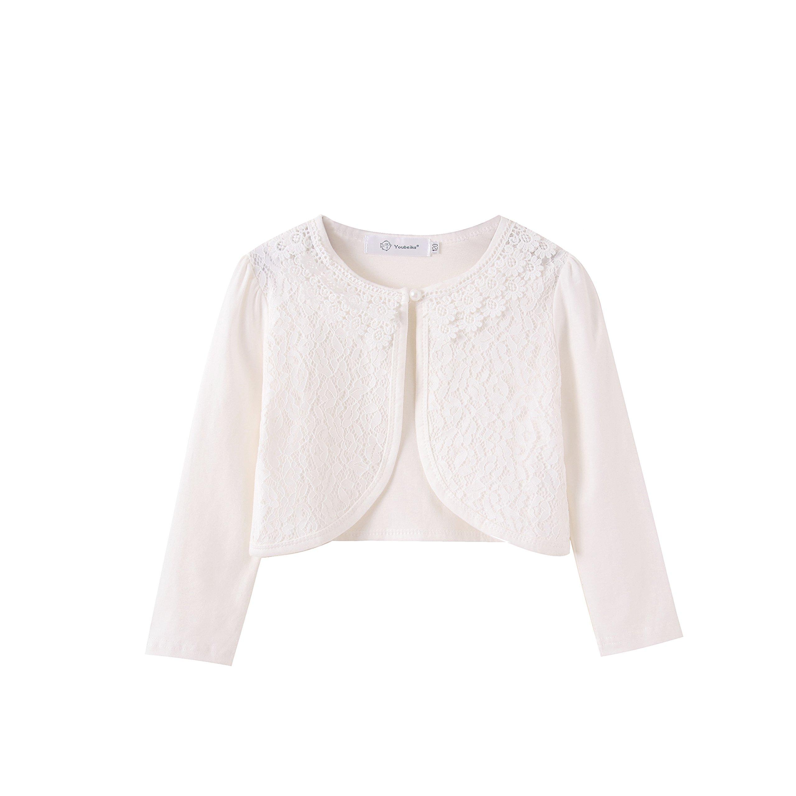 Zhuannian Little Girls' Long Sleeve Lace Bolero Cardigan Shrug(3-4T,White)