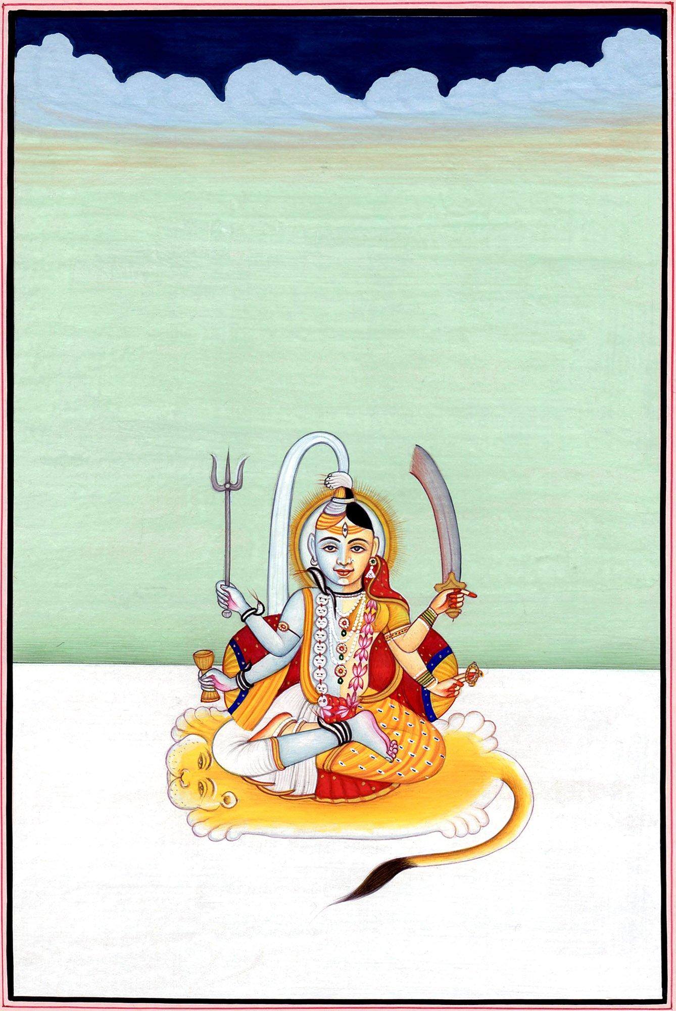 Purusha and Prakriti - Water Color Painting On Paper - Artist: Kailash Raj