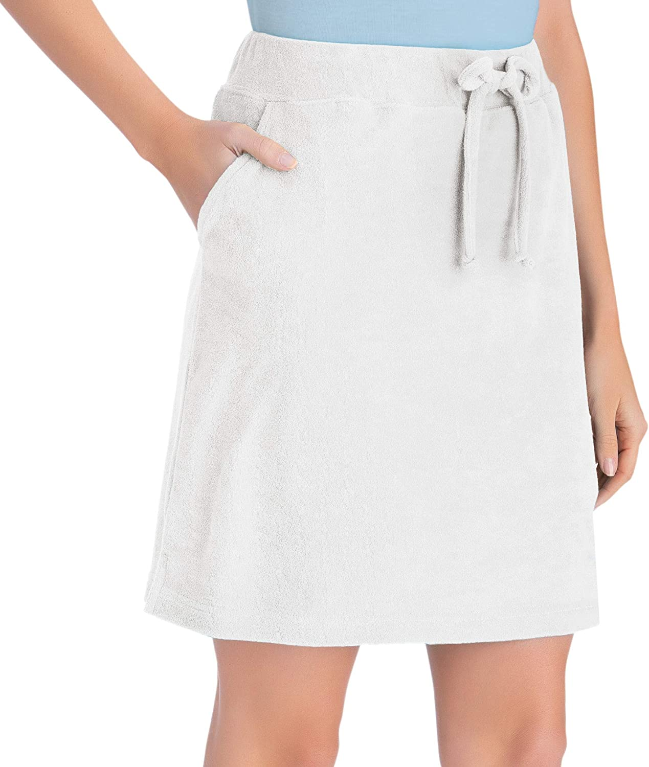 Collections Etc Drawstring Terry Cloth Skort with Attached Shorts Machine Wash Side Pockets