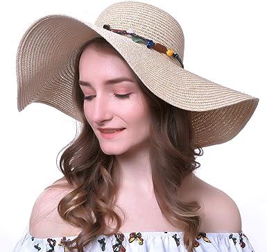Women Summer Sun Visor Cap Roll Up Foldable Ladies Beach Straw Hat Outdoor Brown
