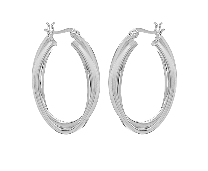 Tuscany Silver Sterling Silver Double Twist 30mm Creole Earrings JuU8q9eQN