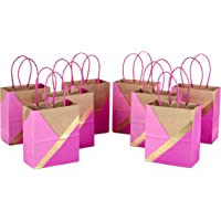 """Hallmark 6"""" Small Paper Gift Bags (Pack of 8, Pink and Kraft) for Birthdays, Easter, Weddings, Mother's Day, Baby…"""