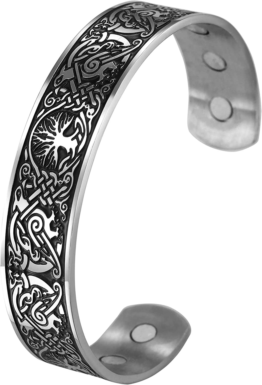 VASSAGO Stainless Steel Tree of Life Cuff Bangle Viking Celtic knot Phoenix Pattern Health Care Bracelets Metal Wristband for Men