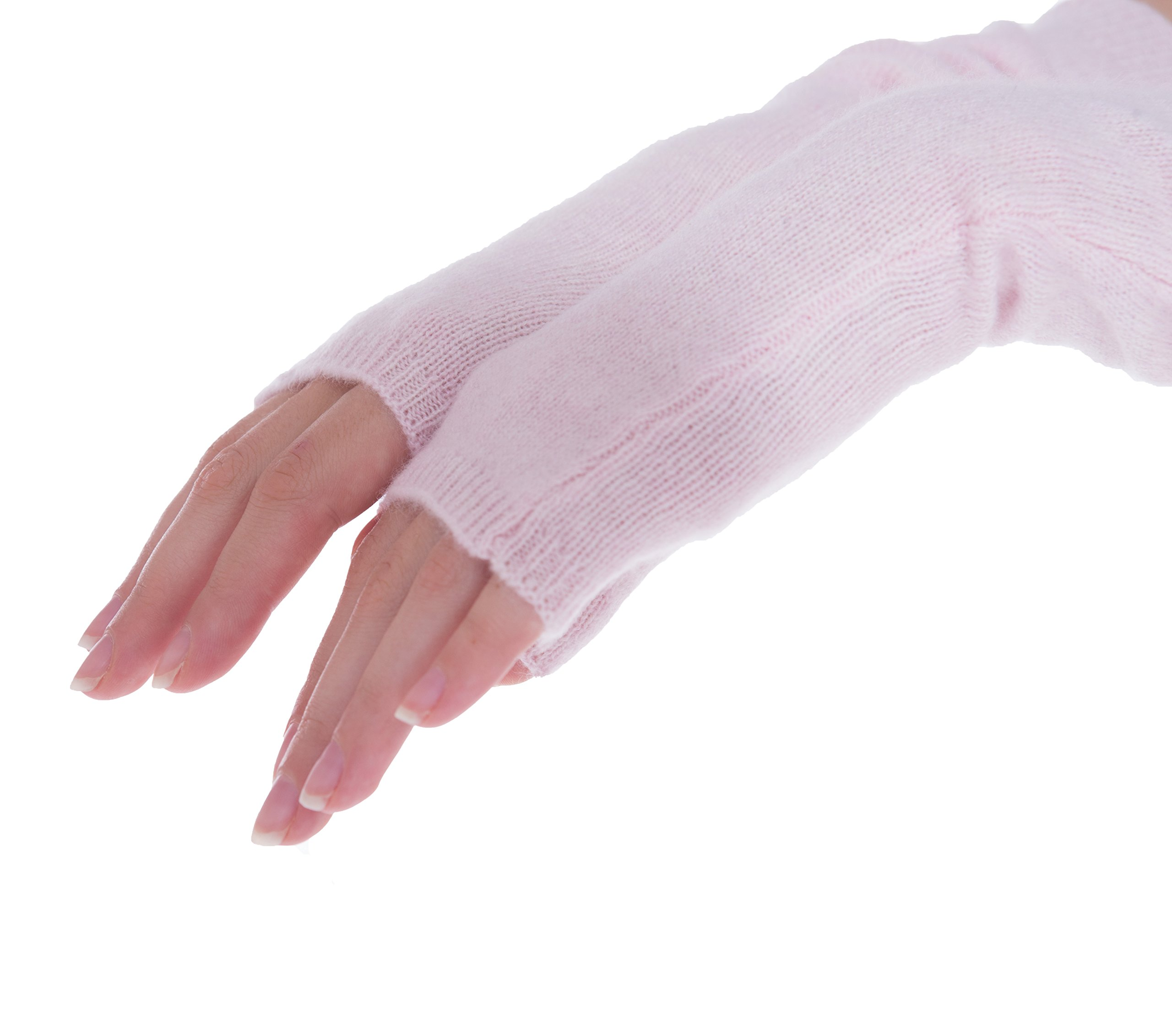 cashmere 4 U Women's 100% Cashmere Long Sleeve Fingerless Mitten Gloves (Givre) by cashmere 4 U (Image #5)