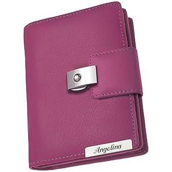 ab5ea7dc85f3a1 Cadenis Damen Geldbörse Geldbeutel Leder mit persönlicher Laser-Gravur pink  Hochformat 13 x 10 cm