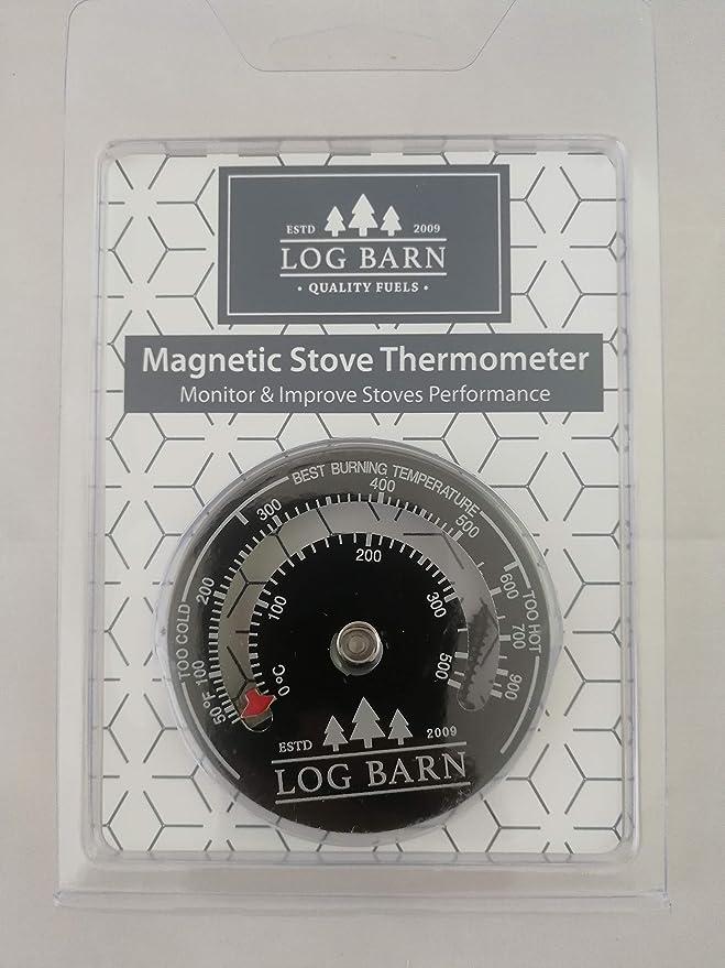 Log-Barn quemador de registro magnético y termómetro de estufa para estufas de superficie y tubo de humos. La mejor zona de temperatura de combustión-viene ...