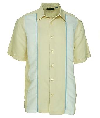 0681de5ee Cubavera Ivory Color Block Camp Shirt, Size Small at Amazon Men's ...