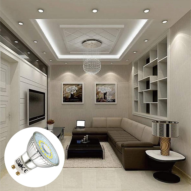 6 Pack EACLL Bombillas LED GU10 6000K Blanco Frio 5W 450 L/úmenes Equivalente 50W Hal/ógena 120 /° Luz Diurna Blanca Fr/ía Spotlight LED
