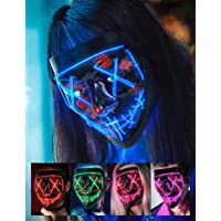 Sago Brothers Scary Halloween Mask, LED Light up Mask Cosplay, Glowing in The Dark Mask Costume 3 Lighting Modes…