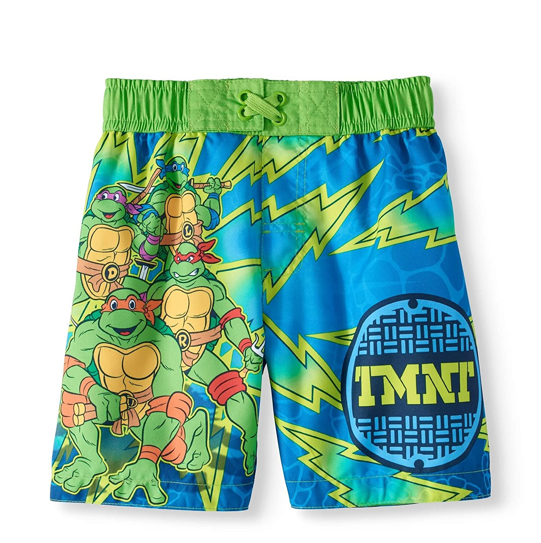 ed8dd86bc3 Amazon.com: Toddler Boys Teenage Mutant Ninja Turtles Swim Trunks Size 2T  Blue Green: Clothing