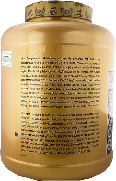 PROTEINA WHEY ISO | ARES - 2,3 kg - PROTEINA ISOLADA CON: SIN CARBOHIDRATOS NI GRASAS (Dark cookie)