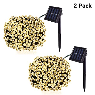 Jiamao 8 Modes Solar String Lights 100LED 42.7ft Solar Christmas Lights Waterproof Outdoor Decoration Lights for Garden, Home, Wedding, Party, Curtain (100LED2PACK, Warm White)