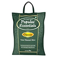Popular Essentials Classic Sona Masouri Raw Rice, 5kg