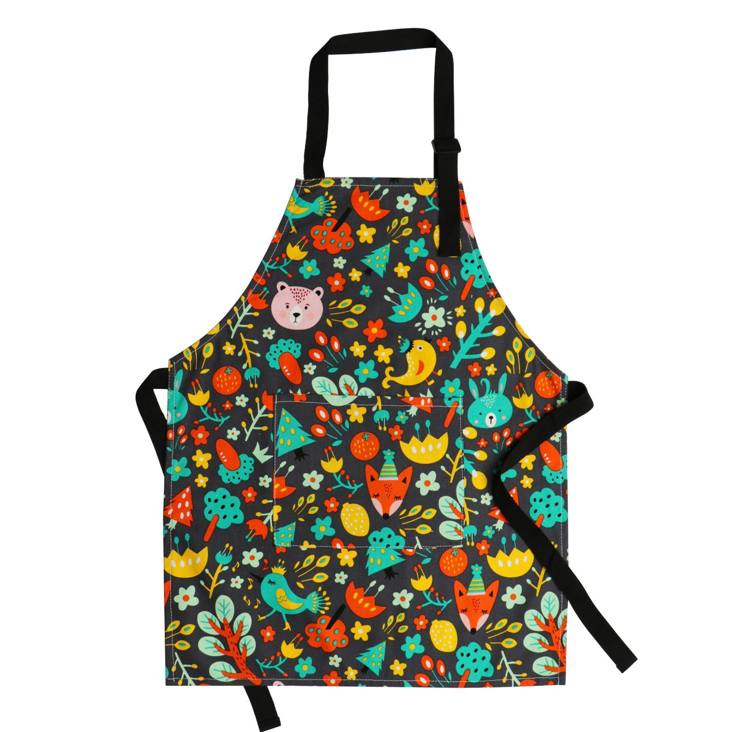 Jennice House Children's Aprons 100% Pure Cotton Canvas Kids Artists Aprons with Adjustable Neck Strap and Pocket Animal Print Child Chef Aprons for Boys and Girls Cooking Baking Painting in 2 Sizes