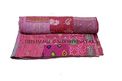 Delicious Orange Floral Kantha Quilt Cotton Bedspread Bedding Throw Blanket Gudari Vintage Beautiful And Charming Bedding