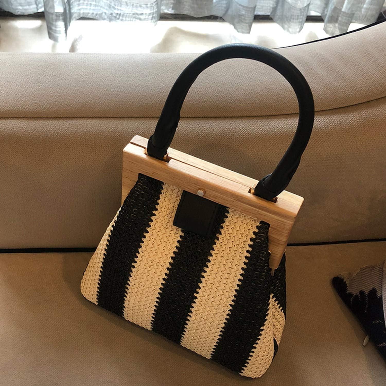 Straw Bag Wooden Clip Women Shoulder Bag Travel Beach Bag Handbags Women Bags
