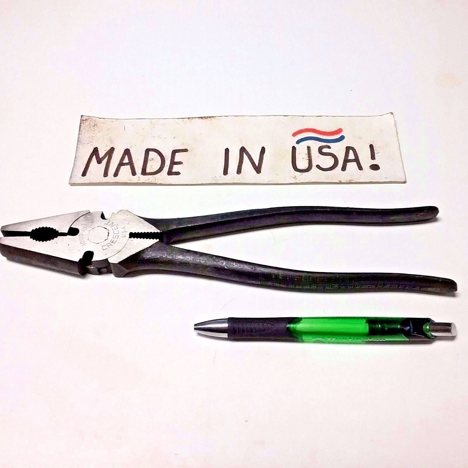 10'' Crescent Heavy Duty Button Plier Fence Tool -Side Cutting- #1000-10 NOS- USA