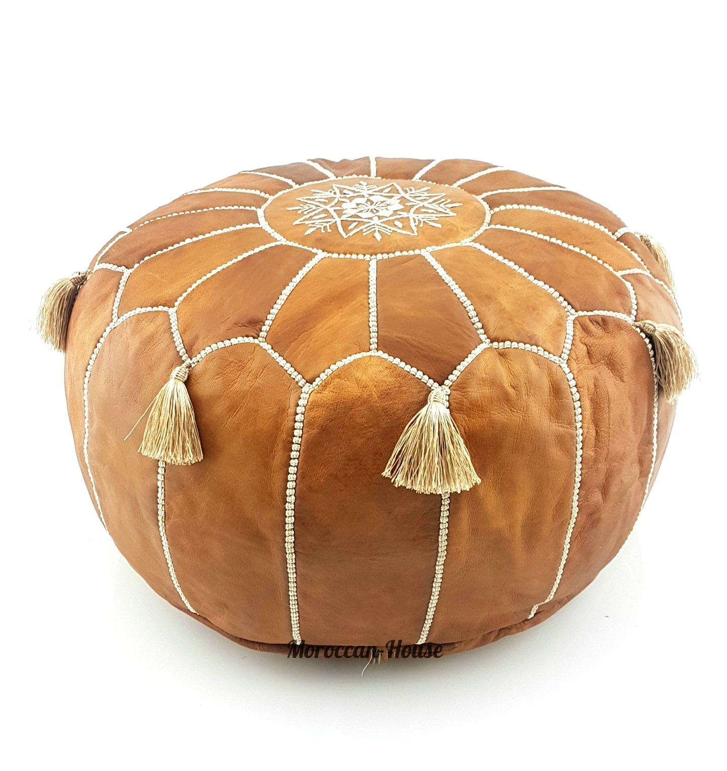 LIMITED EDITION Moroccan Leather Pouf Best offer ,100% handmade Ready to magic your living room! by Moroccan-House (Image #1)