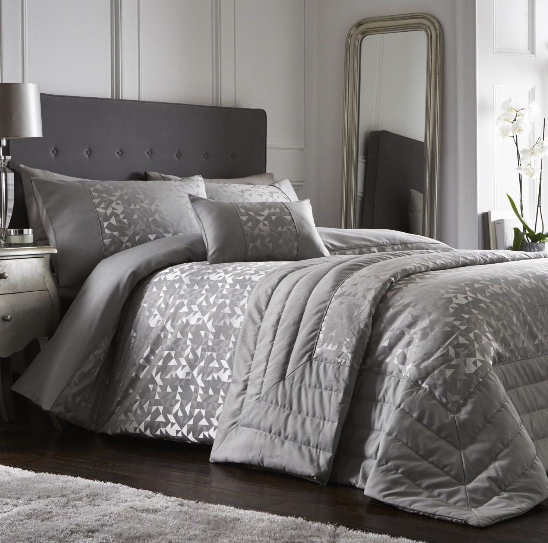 Geometric Contemporary Grey Silver Duvet Cover with Pillowcase Set Bedding
