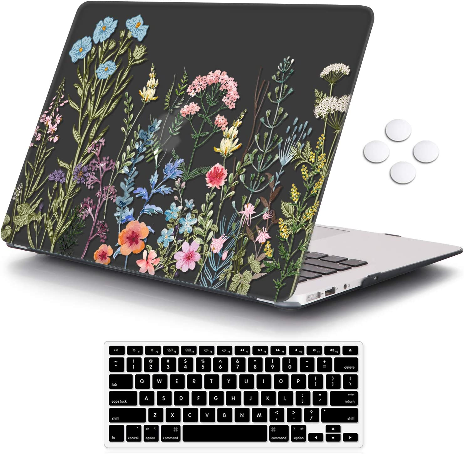 iCasso MacBook Air 13 inch Case (Release 2010-2017 Older Version), Plastic Pattern Hard Shell Protective Case & Keyboard Cover Only Compatible with MacBook Air 13 Inch Model A1369/A1466 - Weeds