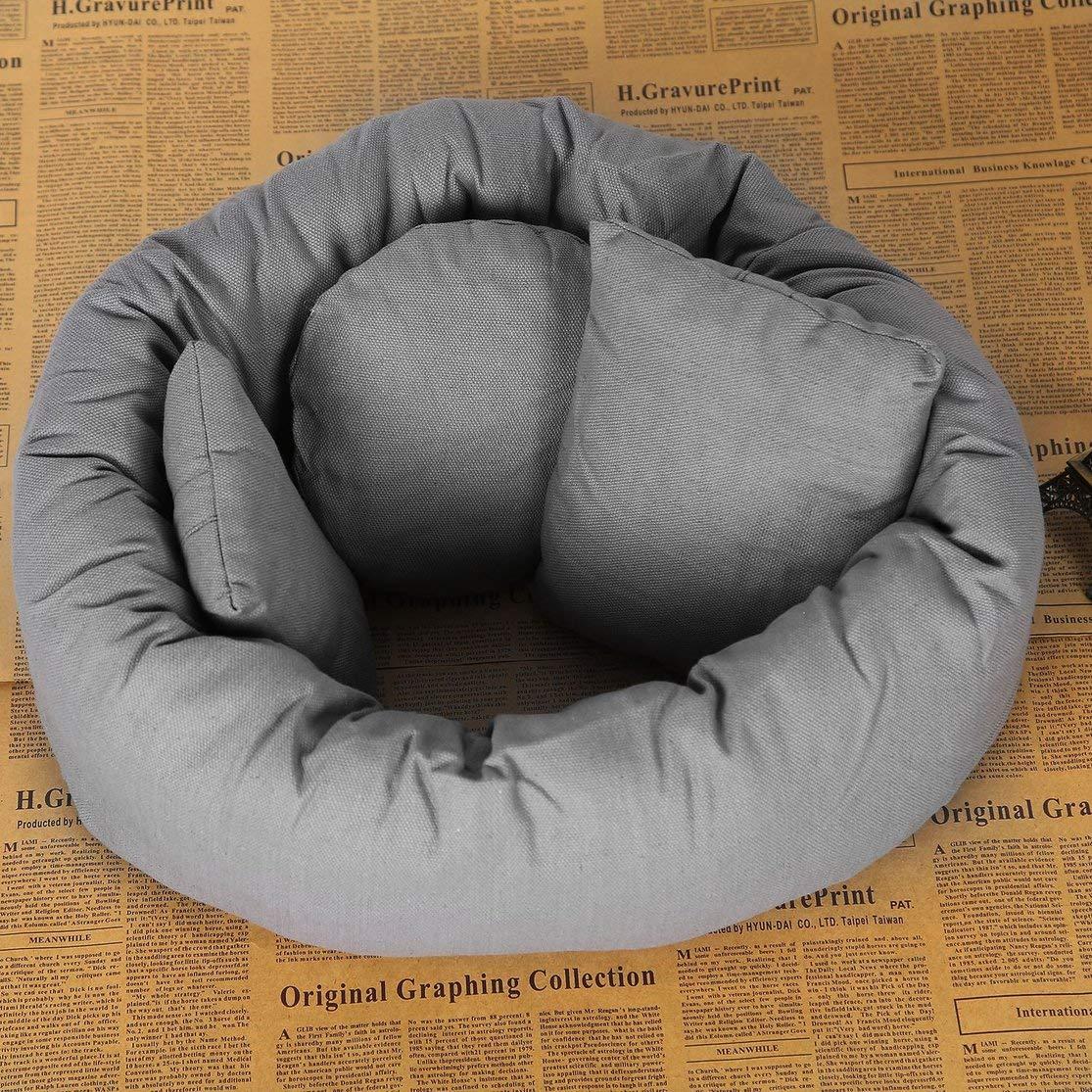 Size:4pcs Color:gray Comfortable 4Pcs//Set 2 Colors Baby Newborn Pillow Basket Filler Wheat Donut Photography Props Set