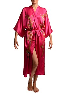 b879e9b0b8 Pink With Sakura Bloom Luxurious Silk Dressing Gown (Robe) - Pink Floral  Dressing Gown