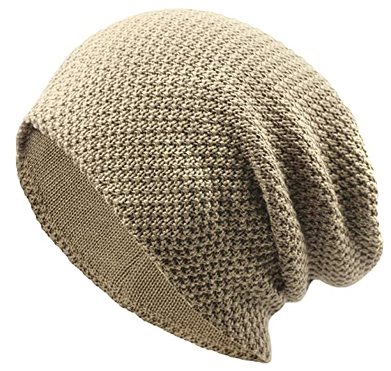 656d1a98d586c American Trends Unisex Slouchy Beanie Knitted Cap Mens Winter Warm Knitting  Hats Fleece Ski Stretch Snug Baggy Khaki at Amazon Men's Clothing store: