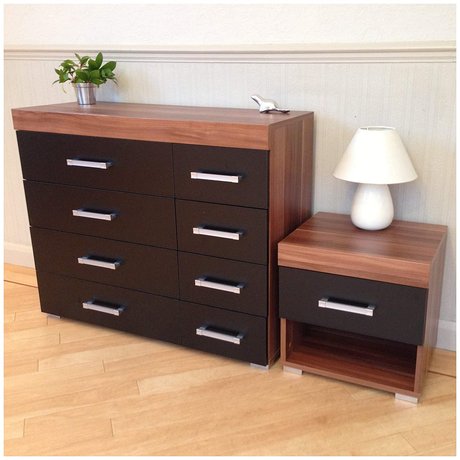 Chest of 4+4 Drawers & 1 Bedside Table in Black & Walnut Bedroom Furniture 8 Draws DRP Trading