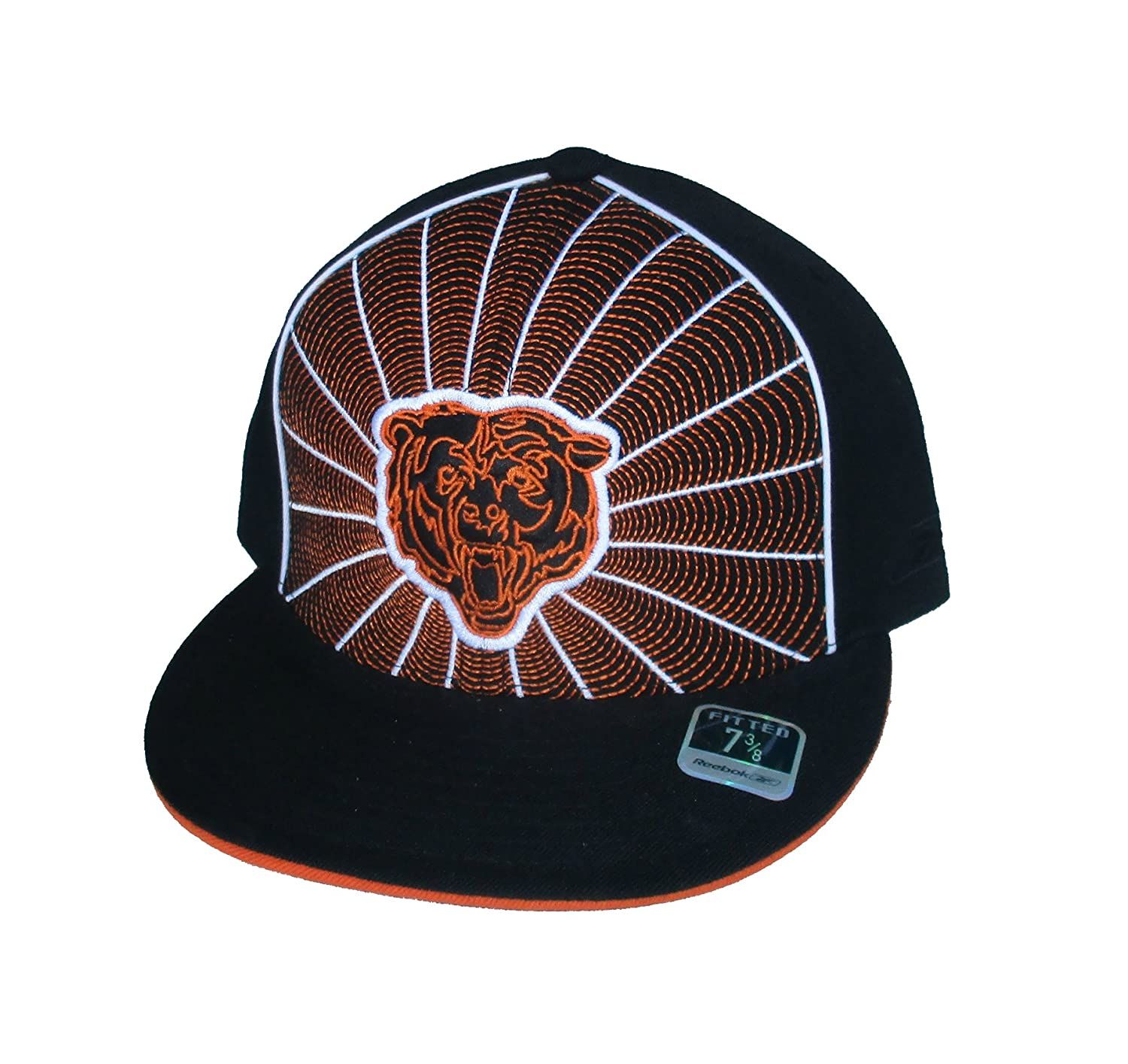 huge selection of 7e33a 9c5f0 Amazon.com   Chicago Bears Fitted Size 7 3 8 NFL Authentic Spiral Design  Bear Logo Hat Cap - Black   Orange   Sports   Outdoors