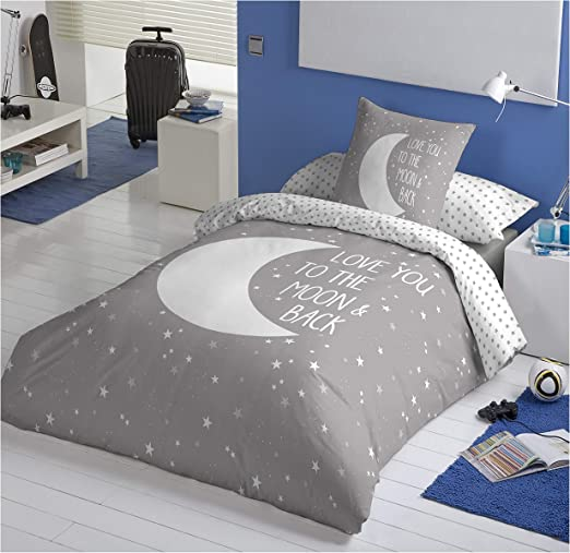 COTTON ARTean Funda Nordica Reversible Moon Grey Cama de 90 ...