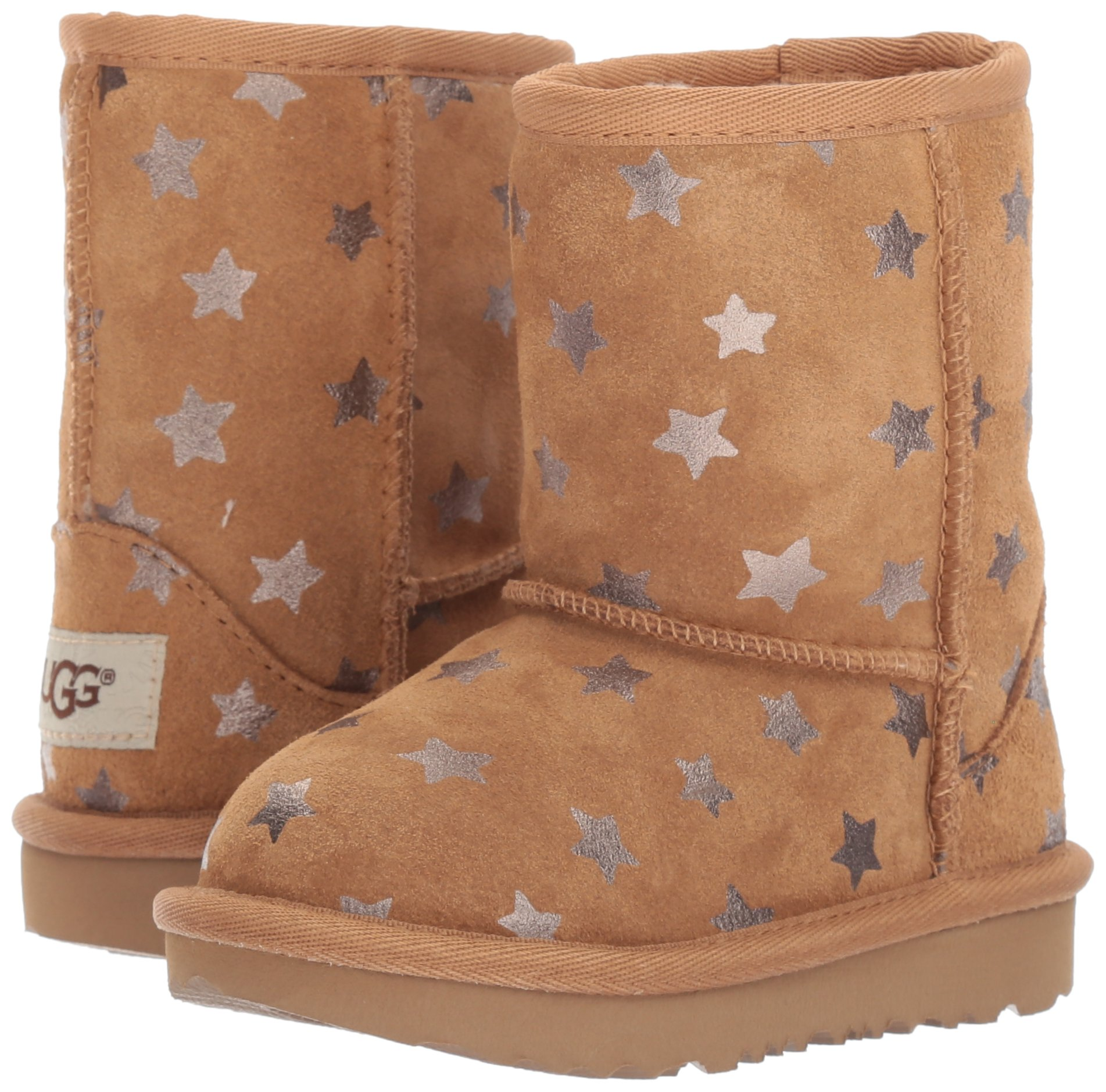 UGG Girls T Classic Short II Stars Pull-On Boot, Chestnut, 7 M US Toddler by UGG (Image #6)
